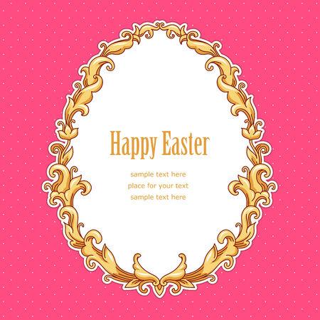 Vintage Easter frame Template card for your design  Vector