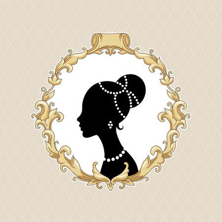 stylize: Stileren jonge vrouw in barokke lijst op beige achtergrond