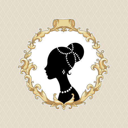 bijouterie: Stylize young woman in baroque frame on beige background  Illustration