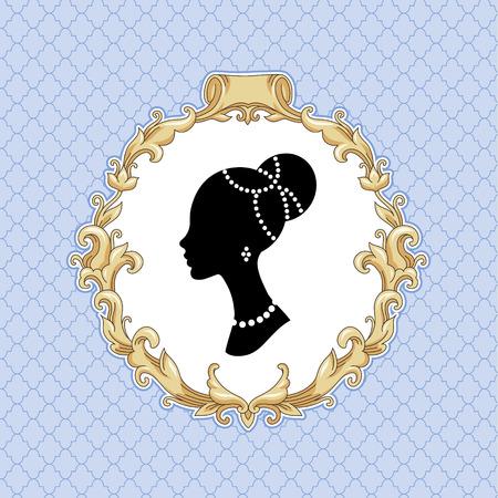 Stilisieren Kopf einer jungen Frau in barocken Rahmen auf blauem Hintergrund Illustration