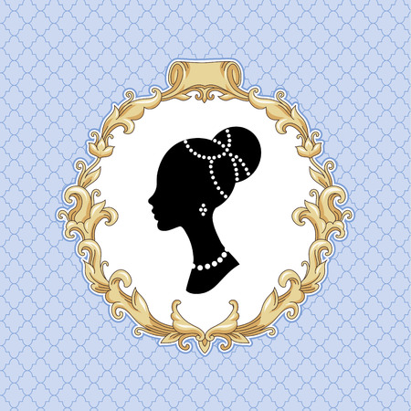 Stylize young woman's head in baroque frame on blue background