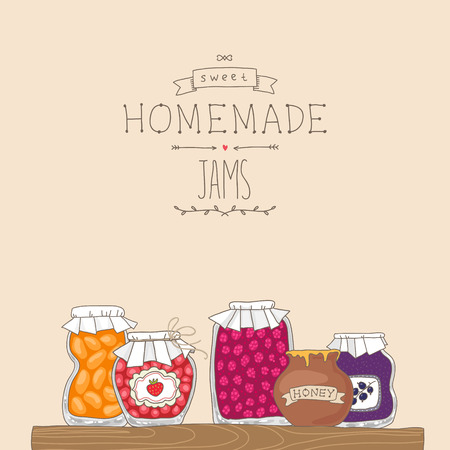 jams: Tasty home made jams in jars. Cartoon background illustration Illustration