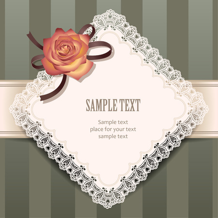 a frill: Square lace frame with decorative rose for greeting design