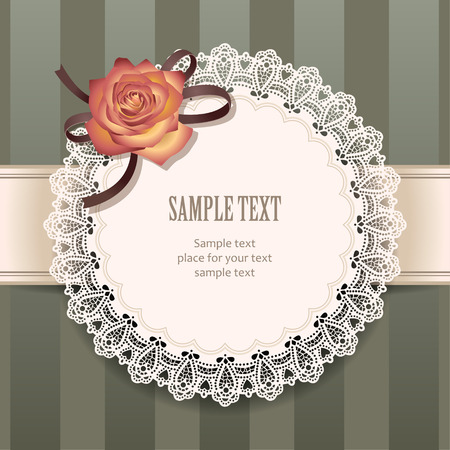 frill: Round lace frame with decorative rose for greeting design