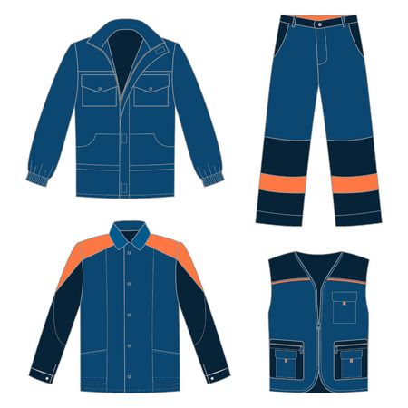 Set of protective work wear for your design Ilustração