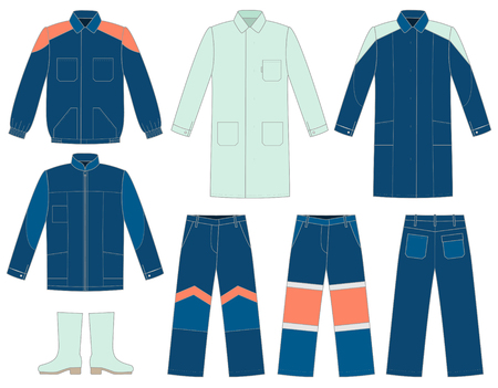 protective gown: Set of protective work wear for your design Illustration