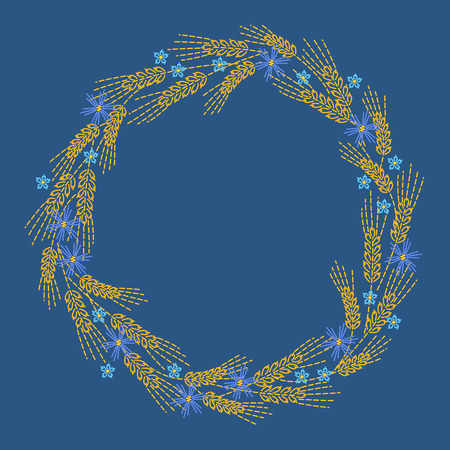 wreath of wheat: Round wheat ears frame embroidery stylize on blue background