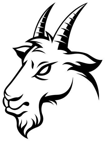 carnero: Cabeza estilizar de cabra aislado en blanco. Ilustración blanco y negro Vectores