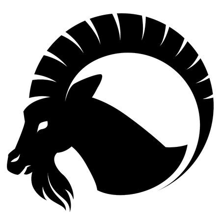 chinese zodiac: Stylizing Goats head isolated on white. Black and white  illustration