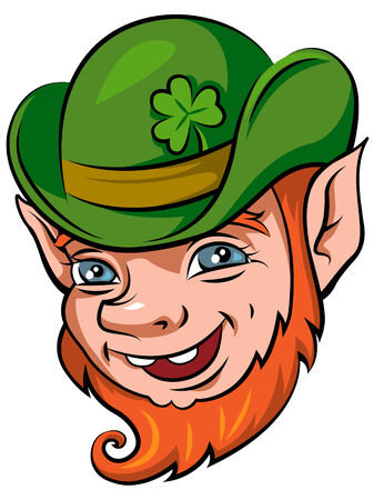 Leprechauns head, symbol of St Patricks day isolated on white  Vector