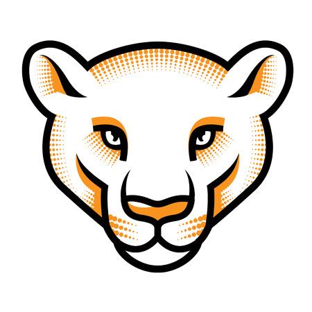 puma: La testa di puma stilizzata isolato su bianco. Illustrazione vettoriale Vettoriali