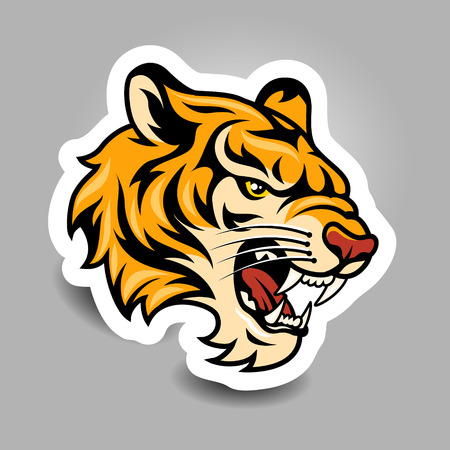 cruel: Youth sticker for your design. Roaring tigers head