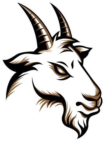 Stylizing Goat's head isolated on white.  illustration for your design