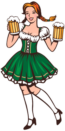 sexy costume: Young woman in a traditional dress holding beer glasses
