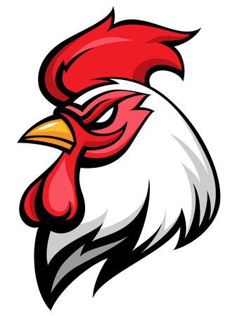 Angry rooster mascot, team symbol, isolated on white  Illustration