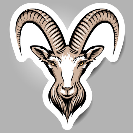 Stylizing Goats head, symbol of the year.  Sticker  for your design.   Vector