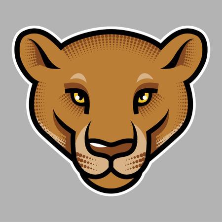 Puma's head on grey background. Vector illustration 矢量图像