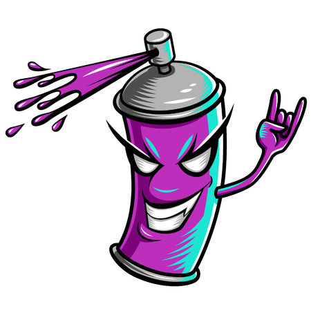 spray can: Crazy paint splatter. Cartoon character for your design.   Illustration