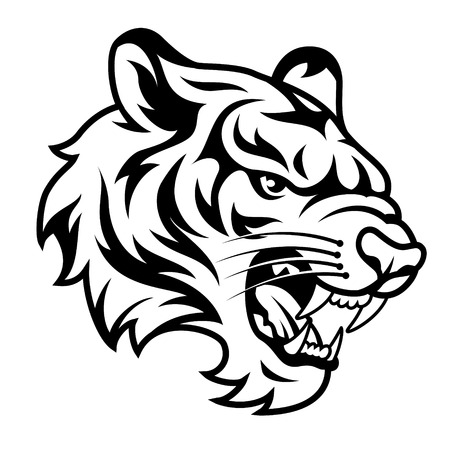 Глава рыкающий тигровый на белом. Черно-белая векторная иллюстрация