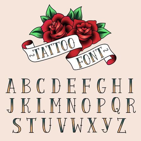 Conjunto de cartas del estilo del tatuaje, alfabeth para su diseño. Foto de archivo - 31524566