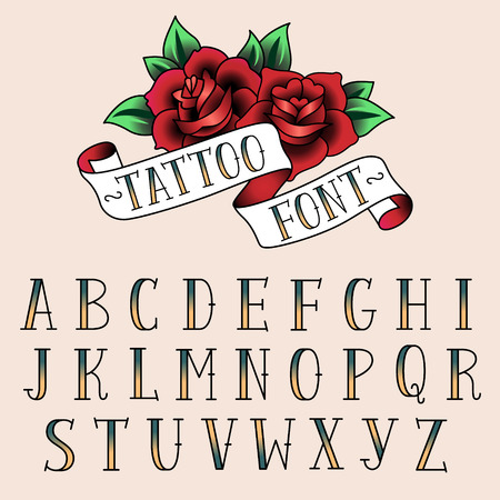 tattoo rose: Set of tattoo style letters, alfabeth for your design.