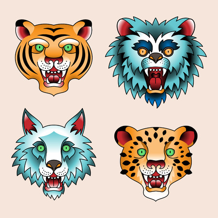 tattoo traditional: Set of traditional tattoo heads of predatory animals  Illustration