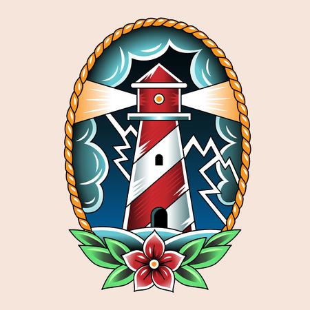 Lighthouse and storm. Vintage tattoo illustration