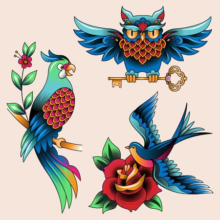 golondrinas: Conjunto de pájaros tradicionales tatuaje del búho, loro y tragar