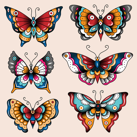 Set of old school tattoo art butterflies for design and decoration  Ilustração