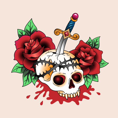 Traditional symbolic tattoo dead skull in red roses