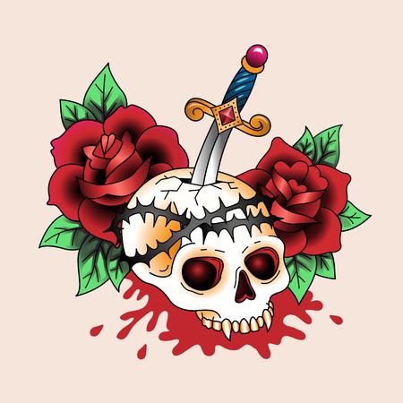 dagger tattoo: Traditional symbolic tattoo dead skull in red roses  Illustration