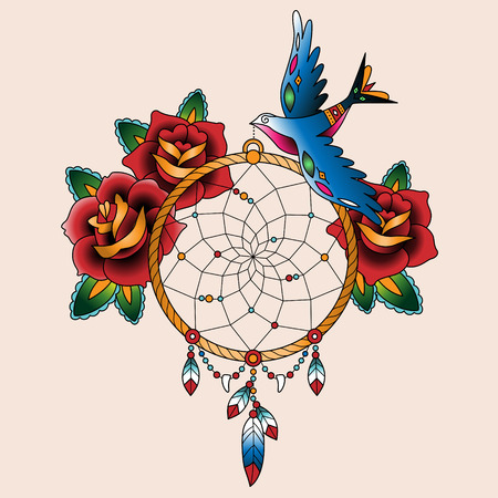 Traditional tattoo dream catcher with roses and bird
