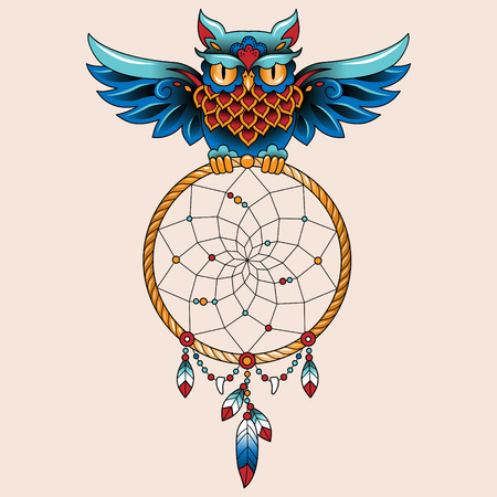 tattooing: Traditional tattoo owl hold dream catcher symbol