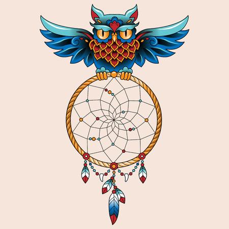 dream catcher: Traditional tattoo owl hold dream catcher symbol