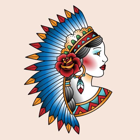 Native american girl in national headdress. Tattoo art illustration  イラスト・ベクター素材