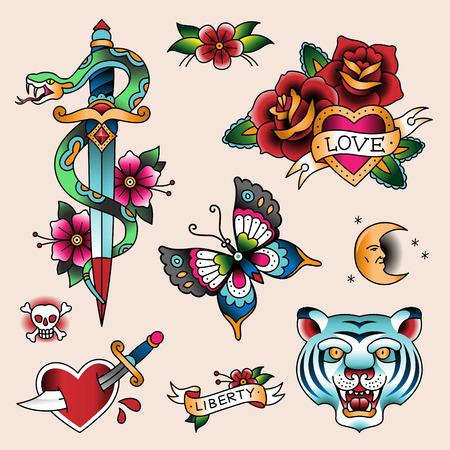 golondrinas: Conjunto de tattoes del color de la vendimia para su diseño