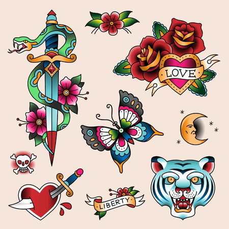 Set of color vintage tattoes for your design  Ilustracja