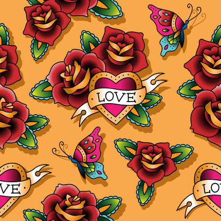 rose butterfly: Vintage tattoo seamless pattern for st.Valentines day  Illustration