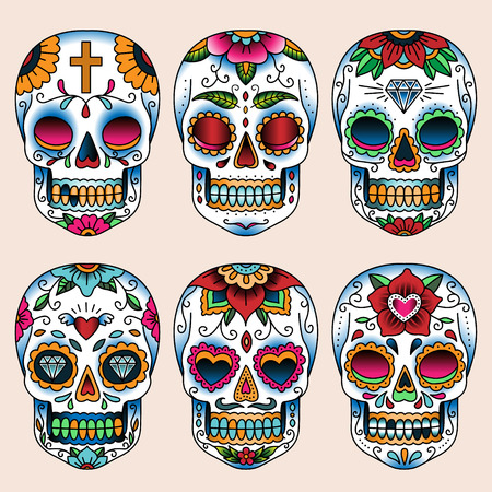 Set of tattoo art skulls in mexican style for design and decoration
