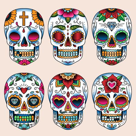 mexican art: Set di teschi arte del tatuaggio in stile messicano per il design e la decorazione