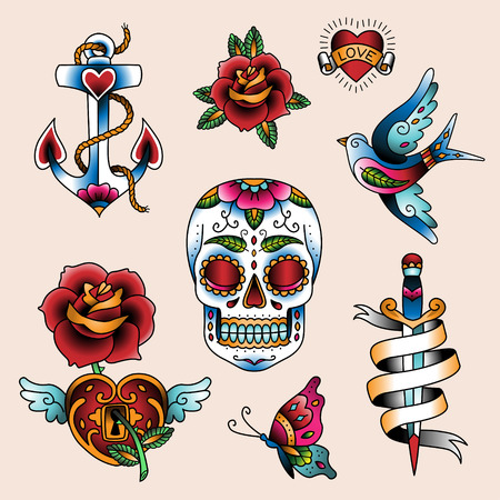 skull tattoo: Set of traditional color tattoo elements