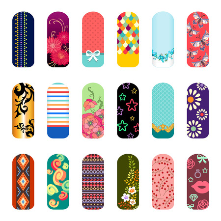 Set of fashion nail art designs for beauty salon