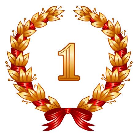Klassischen goldenen Aurel Kranz mit roten Farbband für den ersten Platz.