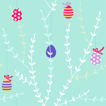 Color easter eggs on branches seamless pattern  Vector