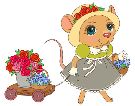 Mouse with flowers in vintage dress. Cartoon character illustration  Vector