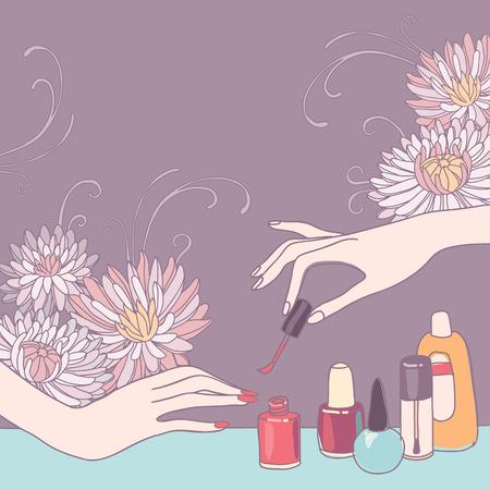 Nail art salon concept background  Vector