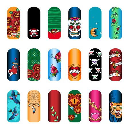 Set of vintage tattoo nail art designs for beauty salon