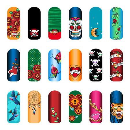 Set of vintage tattoo nail art designs for beauty salon 矢量图像