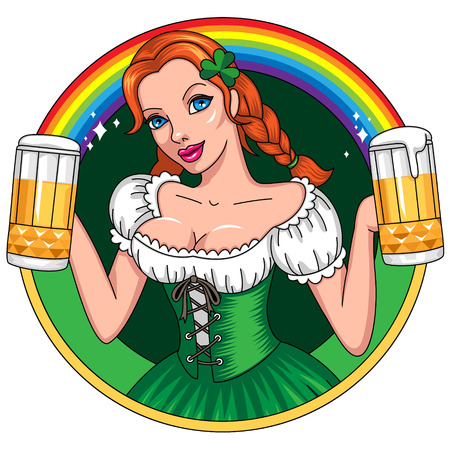 Emblem for st Patricks day. Young woman  holding beer glasses  Vector