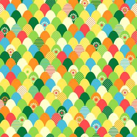 Color easter eggs abstract seamless pattern  Vector